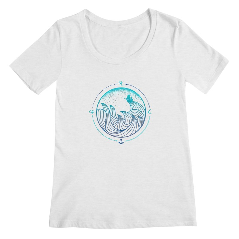 Lost At Sea Women's Regular Scoop Neck by MackStudios's Artist Shop