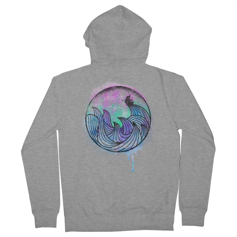 Watercolor Lost At Sea Men's French Terry Zip-Up Hoody by MackStudios's Artist Shop