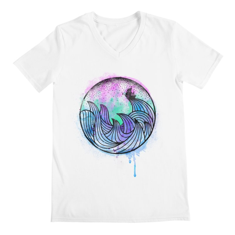 Watercolor Lost At Sea Men's V-Neck by MackStudios's Artist Shop