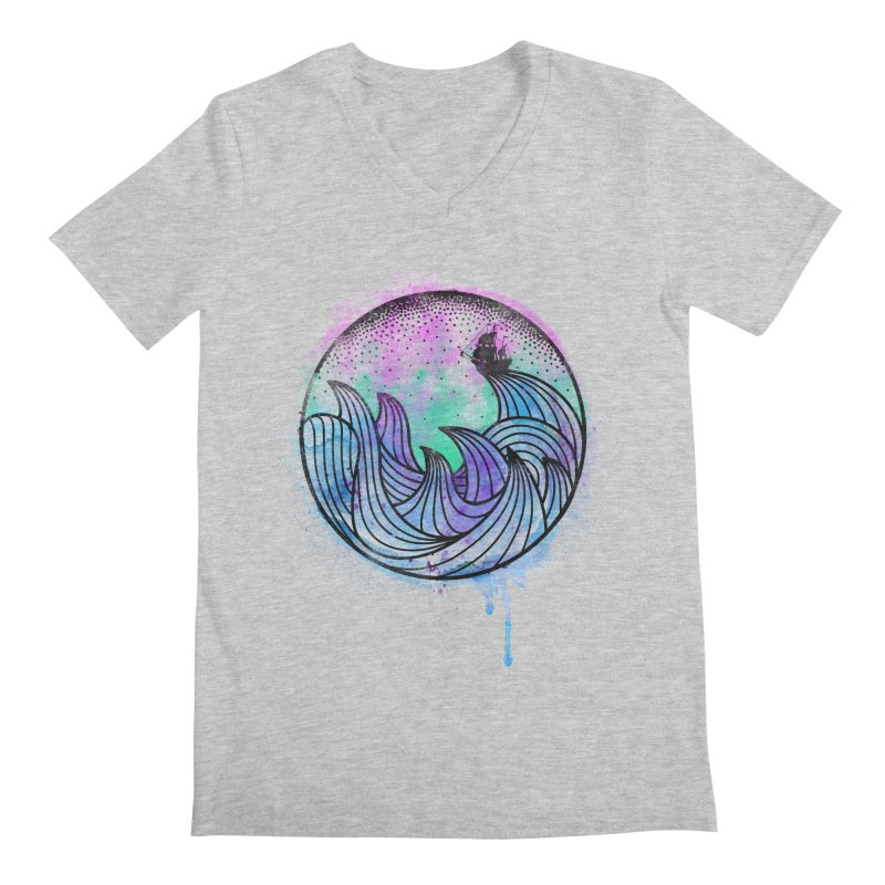 Watercolor Lost At Sea Men's Regular V-Neck by MackStudios's Artist Shop