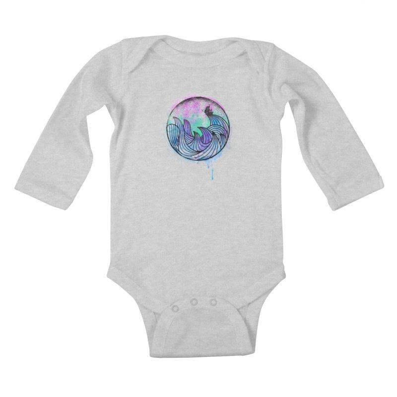 Watercolor Lost At Sea Kids Baby Longsleeve Bodysuit by MackStudios's Artist Shop