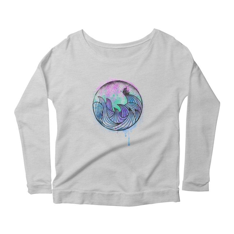 Watercolor Lost At Sea Women's Scoop Neck Longsleeve T-Shirt by MackStudios's Artist Shop