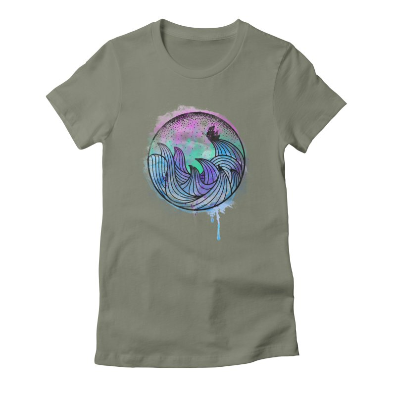 Watercolor Lost At Sea Women's Fitted T-Shirt by MackStudios's Artist Shop