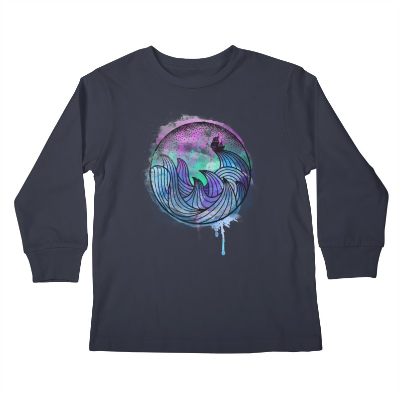 Watercolor Lost At Sea Kids Longsleeve T-Shirt by MackStudios's Artist Shop