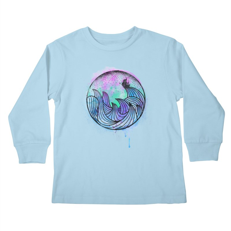 Watercolor Lost At Sea Kids Longsleeve T-Shirt by MackStudios's Artist Shop