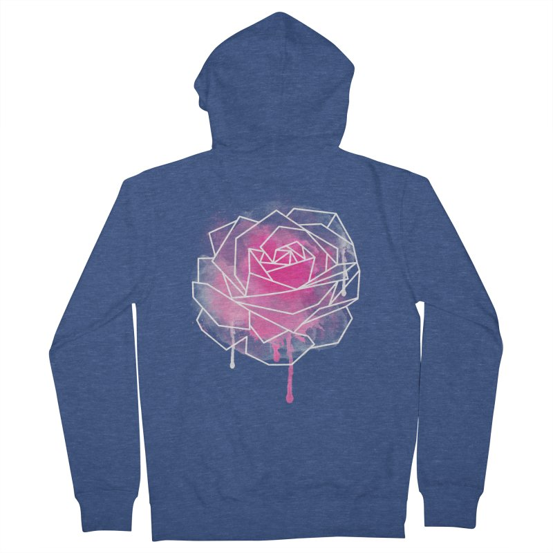 Watercolor Geo Rose Women's Zip-Up Hoody by MackStudios's Artist Shop