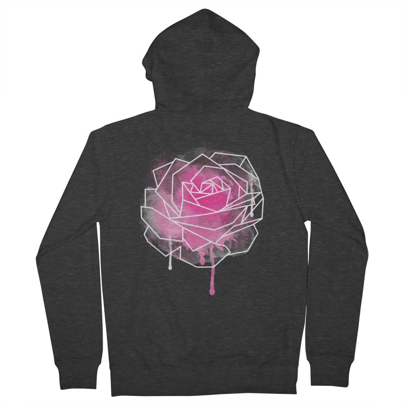 Watercolor Geo Rose Men's Zip-Up Hoody by MackStudios's Artist Shop