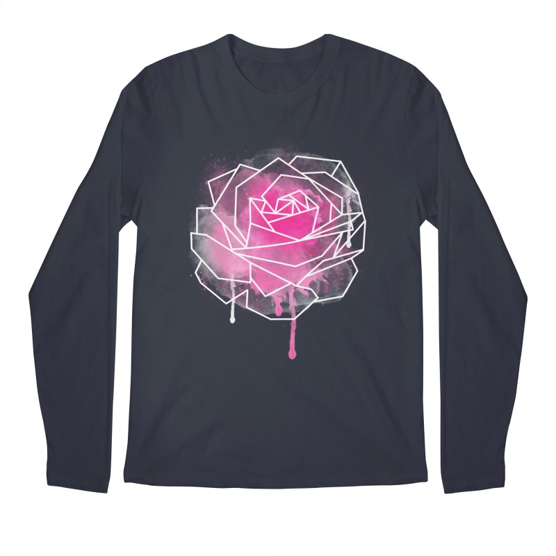 Watercolor Geo Rose Men's Regular Longsleeve T-Shirt by MackStudios's Artist Shop