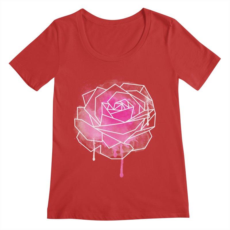 Watercolor Geo Rose Women's Regular Scoop Neck by MackStudios's Artist Shop