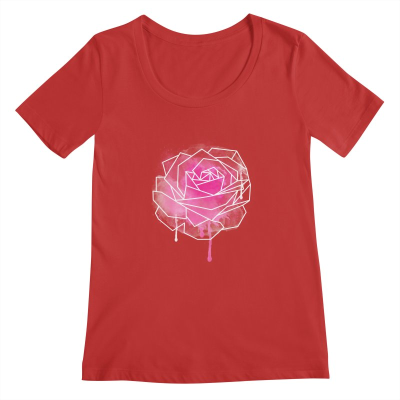 Watercolor Geo Rose Women's Scoopneck by MackStudios's Artist Shop