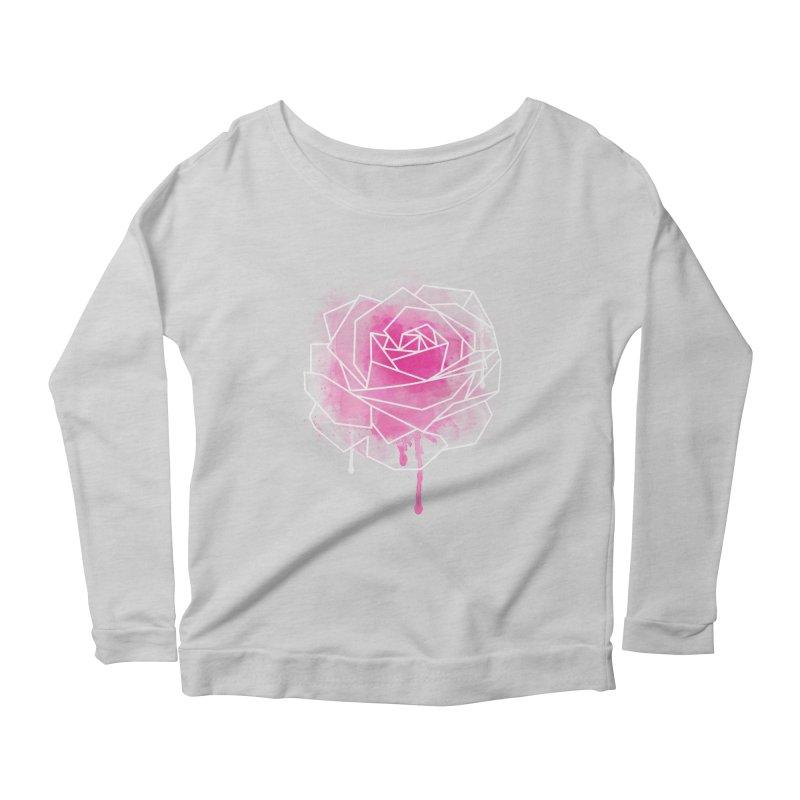 Watercolor Geo Rose Women's Scoop Neck Longsleeve T-Shirt by MackStudios's Artist Shop