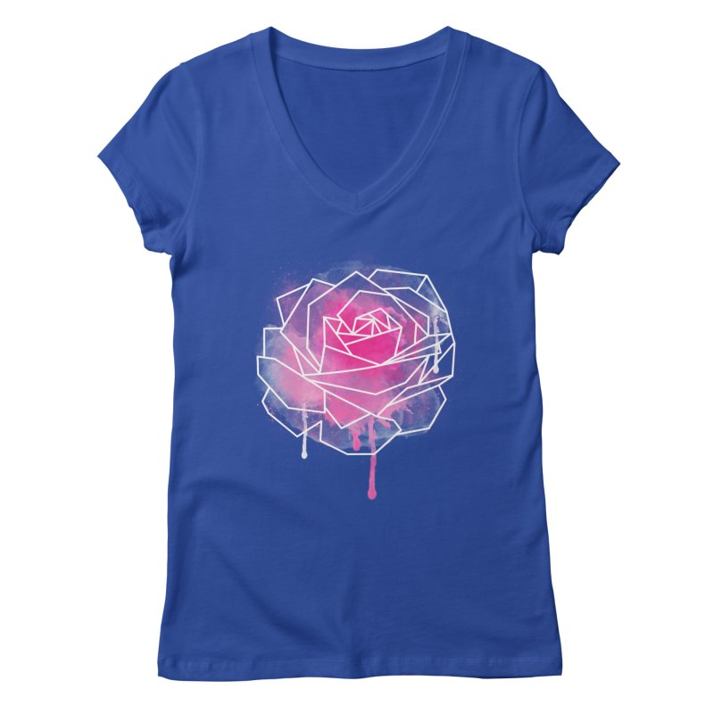 Watercolor Geo Rose Women's Regular V-Neck by MackStudios's Artist Shop