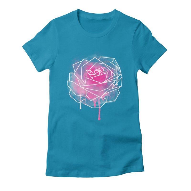 Watercolor Geo Rose Women's Fitted T-Shirt by MackStudios's Artist Shop
