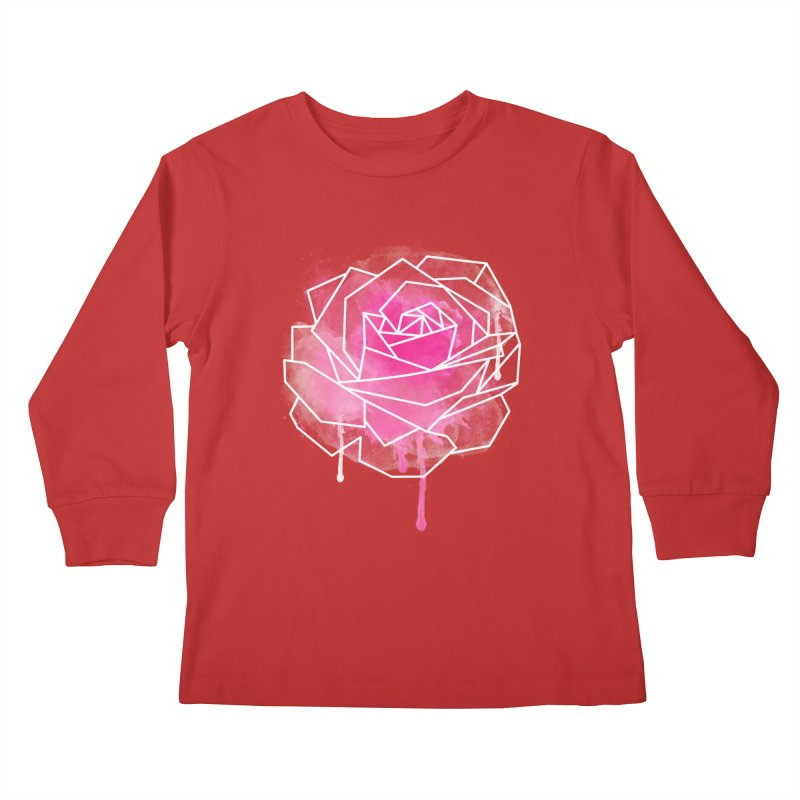 Watercolor Geo Rose Kids Longsleeve T-Shirt by MackStudios's Artist Shop