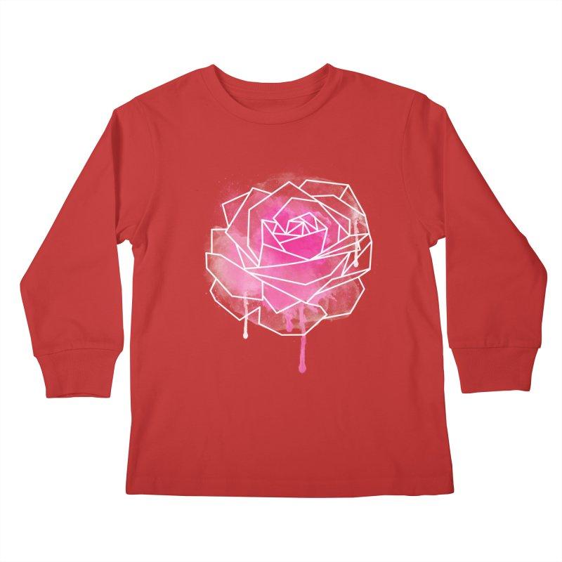 Watercolor Geo Rose Kids Longsleeve T-Shirt by MackStudios's Artist Shop