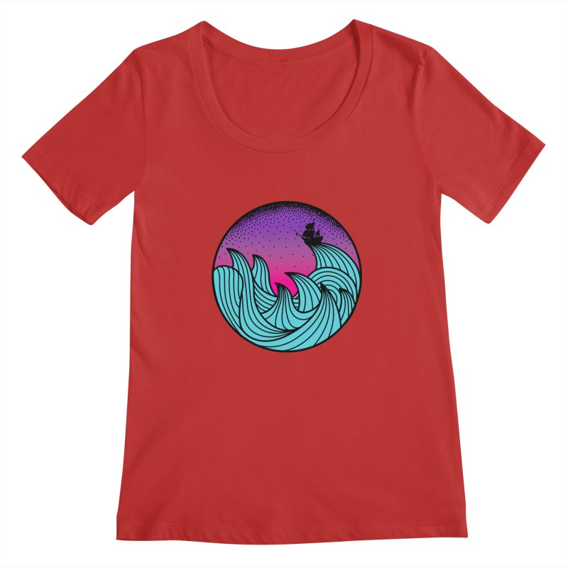 Los At Sea Full Color Women's Scoopneck by MackStudios's Artist Shop