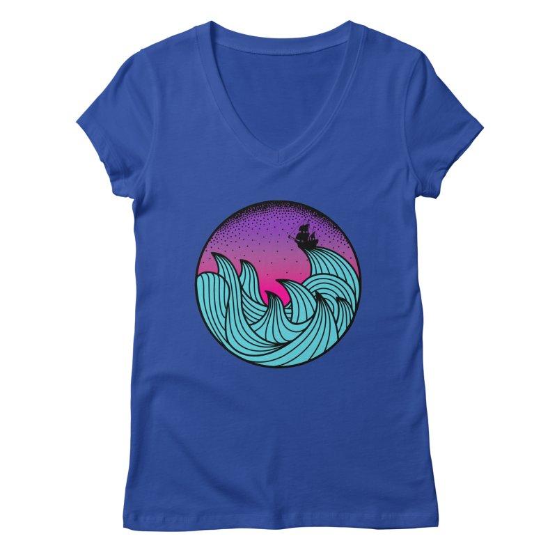 Los At Sea Full Color Women's Regular V-Neck by MackStudios's Artist Shop