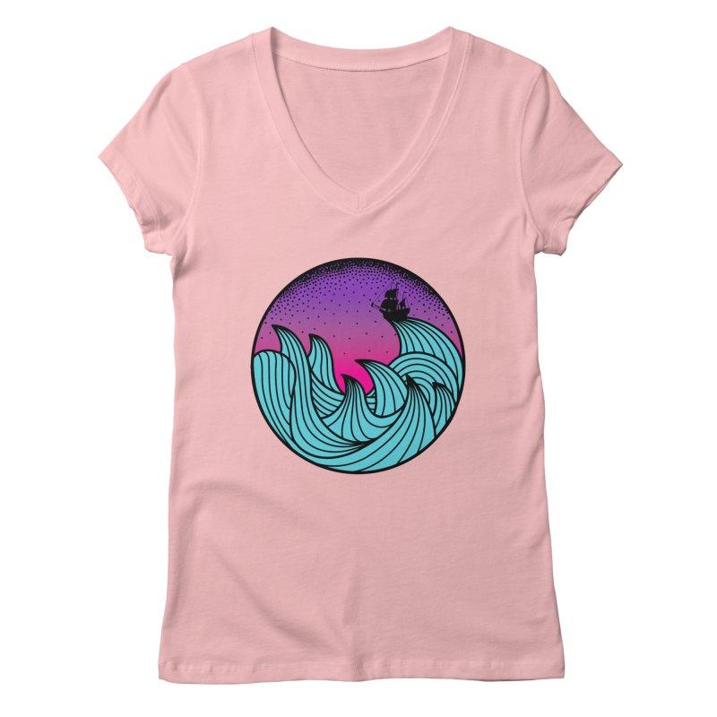 Los At Sea Full Color Women's V-Neck by MackStudios's Artist Shop