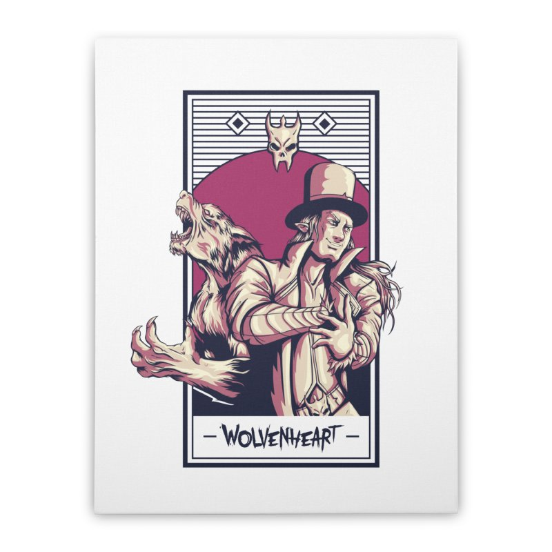 Wolvenheart - Two Wolves Home Stretched Canvas by Mad Cave Studios's Artist Shop