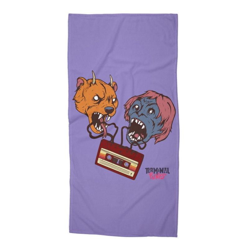 Terminal Punks - Retro Cassette Accessories Beach Towel by Mad Cave Studios's Artist Shop