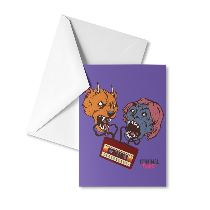 Terminal Punks - Retro Cassette Accessories Greeting Card by Mad Cave Studios's Artist Shop