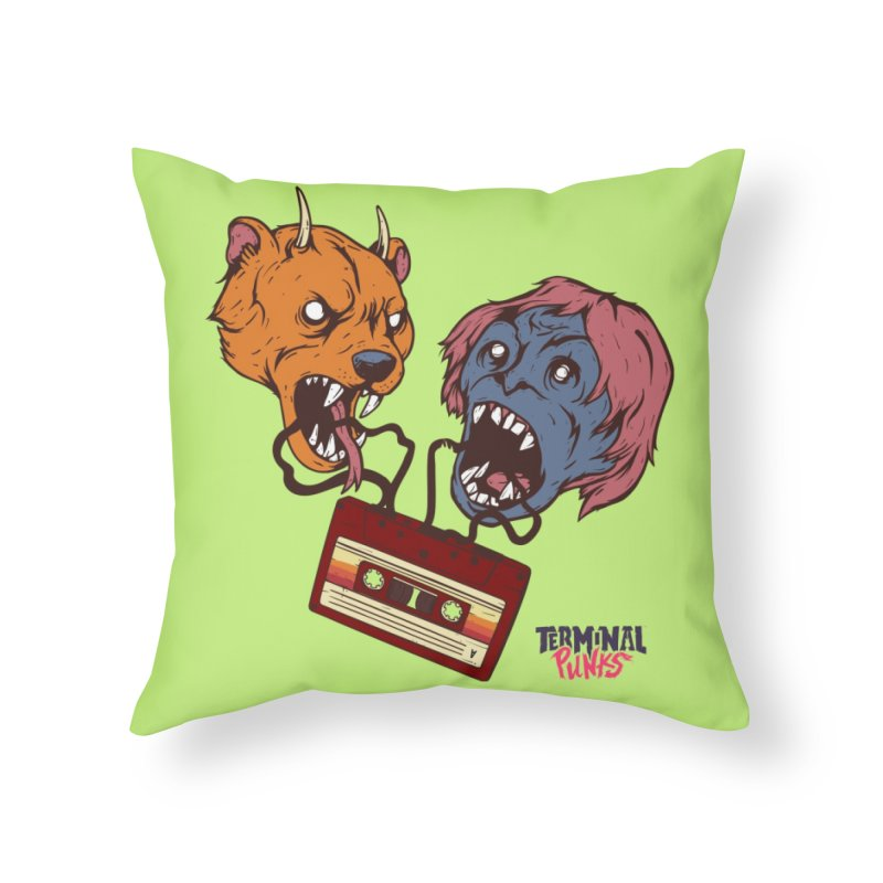 Terminal Punks - Retro Cassette Home Throw Pillow by Mad Cave Studios's Artist Shop