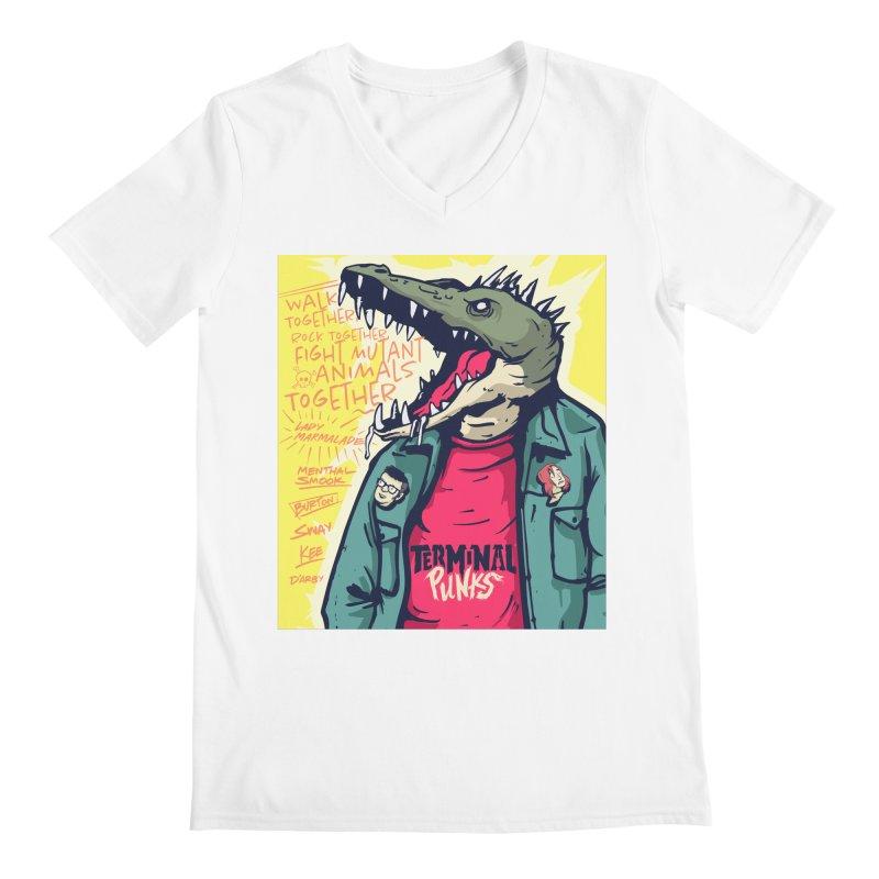 Terminal Punks - Punk-Croc Men's V-Neck by Mad Cave Studios's Artist Shop