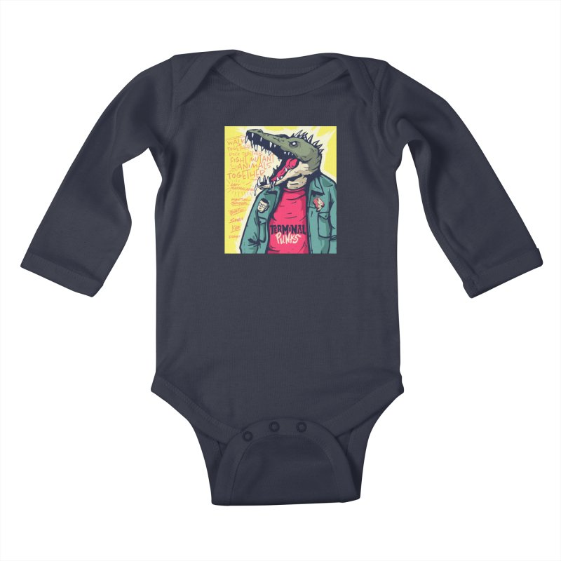 Terminal Punks - Punk-Croc Kids Baby Longsleeve Bodysuit by Mad Cave Studios's Artist Shop