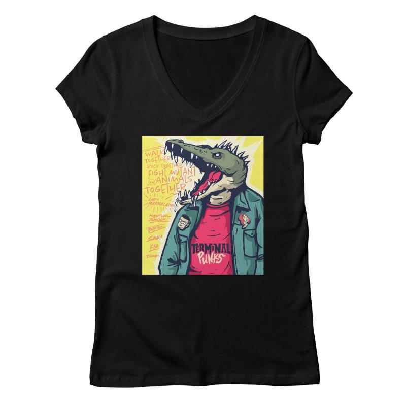 Terminal Punks - Punk-Croc Women's V-Neck by Mad Cave Studios's Artist Shop