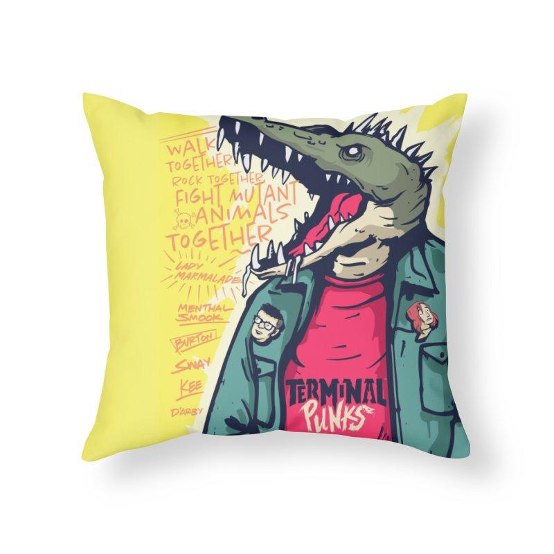 Terminal Punks - Punk-Croc Home Throw Pillow by Mad Cave Studios's Artist Shop
