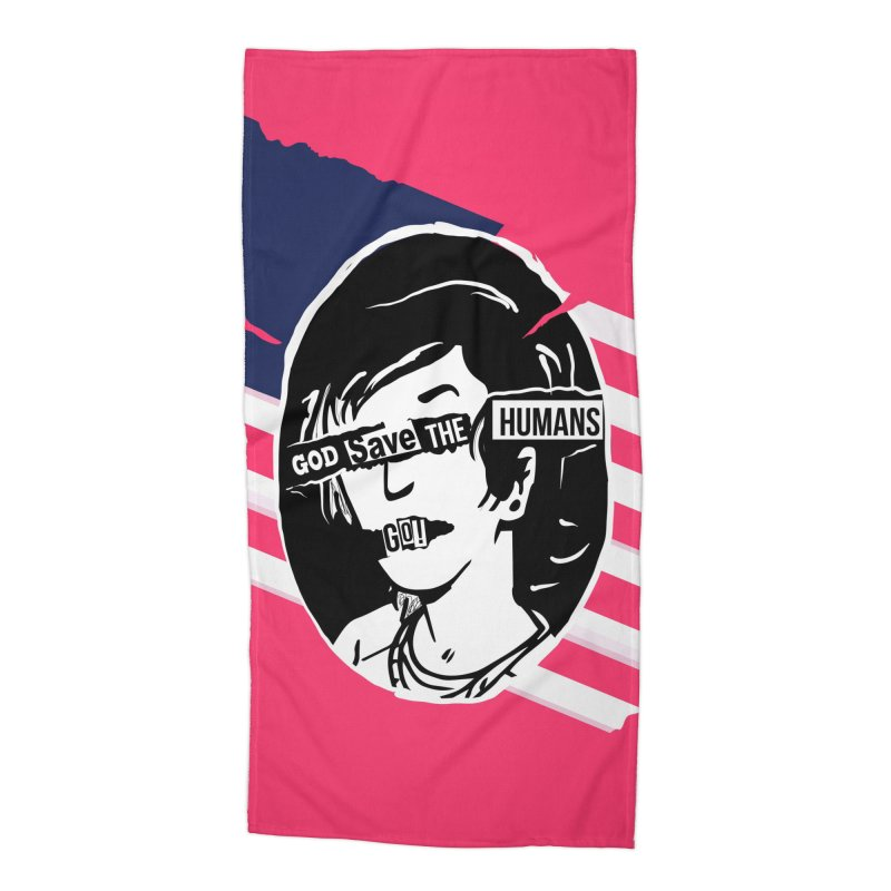 Terminal Punks - God Save the Humans Accessories Beach Towel by Mad Cave Studios's Artist Shop
