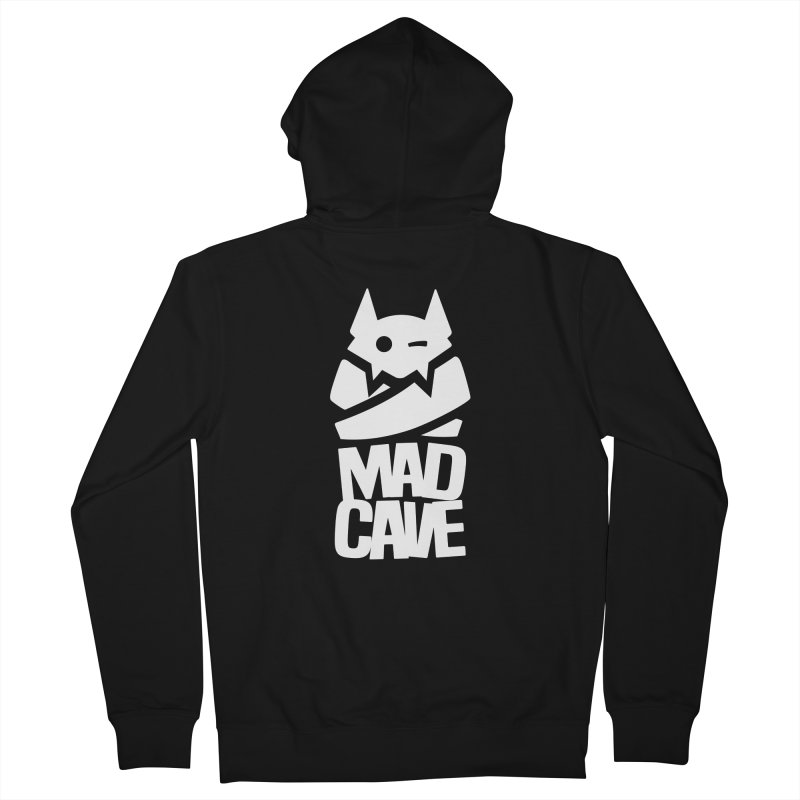 Mad Cave Logo White Women's French Terry Zip-Up Hoody by MadCaveStudios's Artist Shop