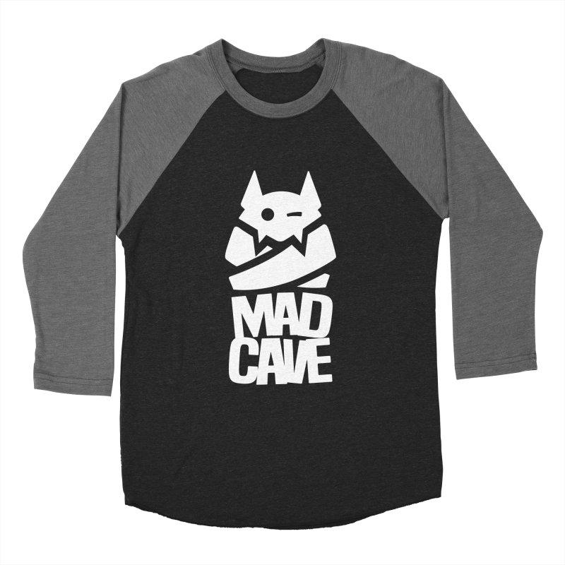 Mad Cave Logo White Men's Baseball Triblend Longsleeve T-Shirt by MadCaveStudios's Artist Shop
