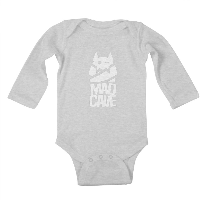 Mad Cave Logo White Kids Baby Longsleeve Bodysuit by MadCaveStudios's Artist Shop