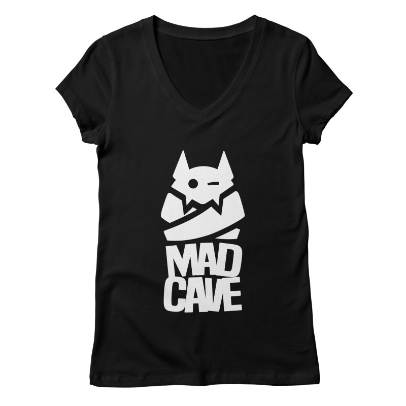 Mad Cave Logo White Women's V-Neck by Mad Cave Studios's Artist Shop
