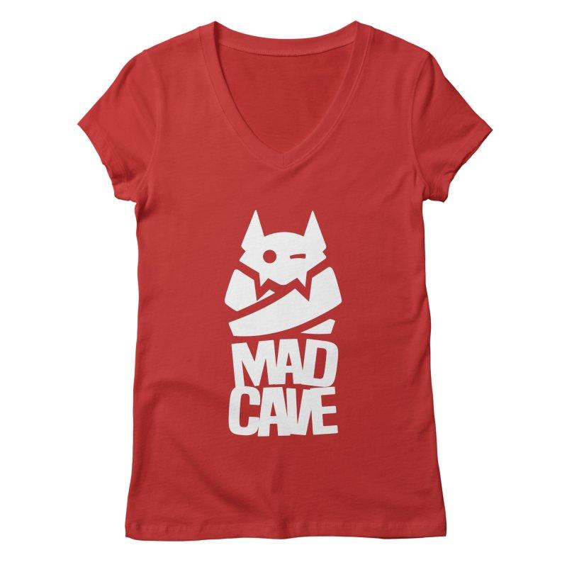Mad Cave Logo White Women's Regular V-Neck by MadCaveStudios's Artist Shop