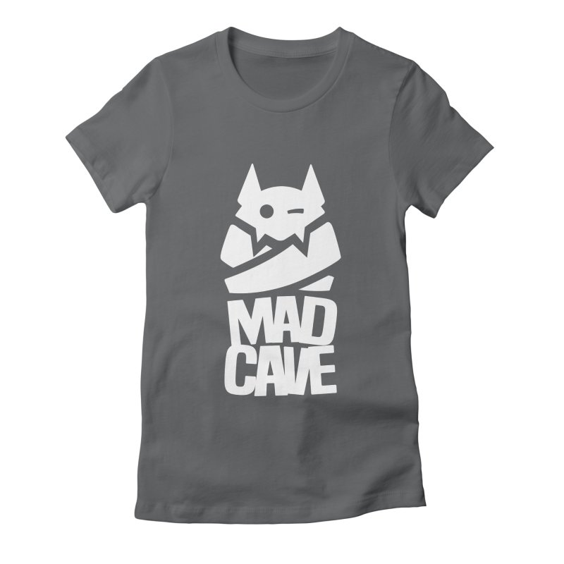 Mad Cave Logo White Women's Fitted T-Shirt by MadCaveStudios's Artist Shop