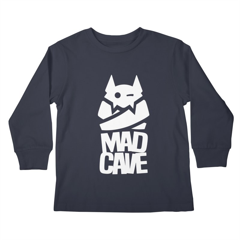 Mad Cave Logo White Kids Longsleeve T-Shirt by MadCaveStudios's Artist Shop