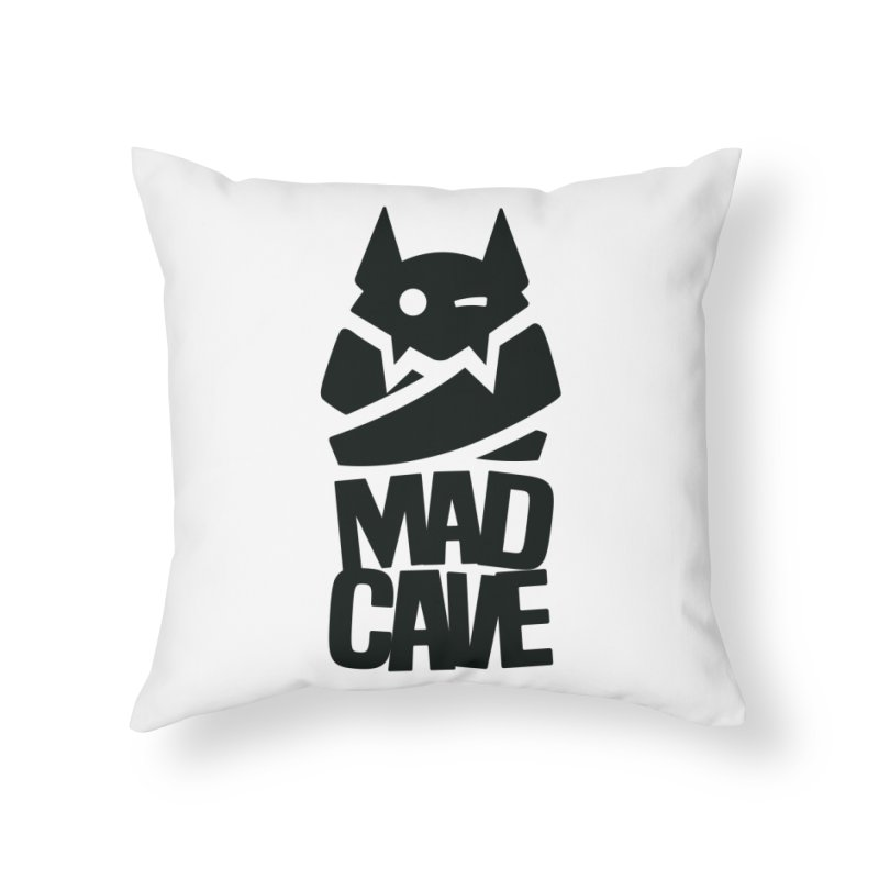 Mad Cave Logo Black Home Throw Pillow by MadCaveStudios's Artist Shop