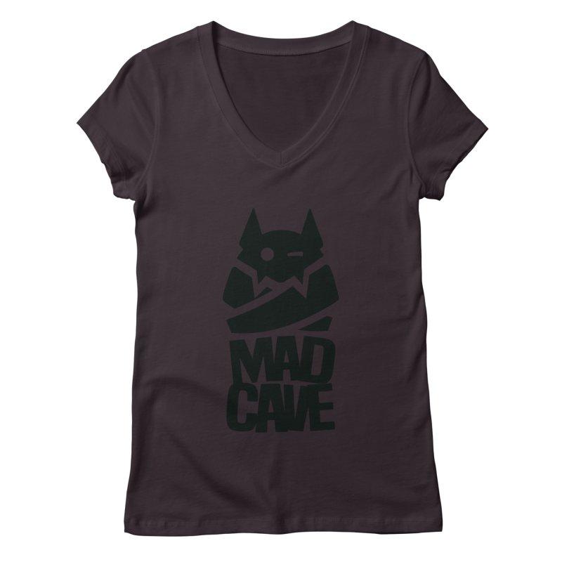 Mad Cave Logo Black Women's Regular V-Neck by MadCaveStudios's Artist Shop
