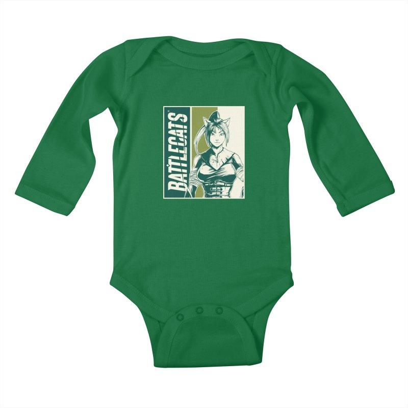 Battlecats - Kaleera Kids Baby Longsleeve Bodysuit by Mad Cave Studios's Artist Shop