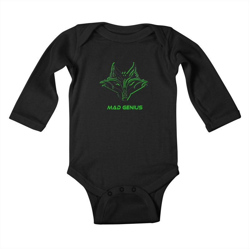 Mad Genius Fox MG Kids Baby Longsleeve Bodysuit by The Mad Genius Artist Shop