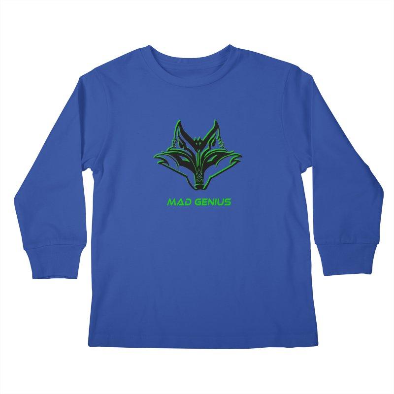 Mad Genius Fox MG Kids Longsleeve T-Shirt by The Mad Genius Artist Shop