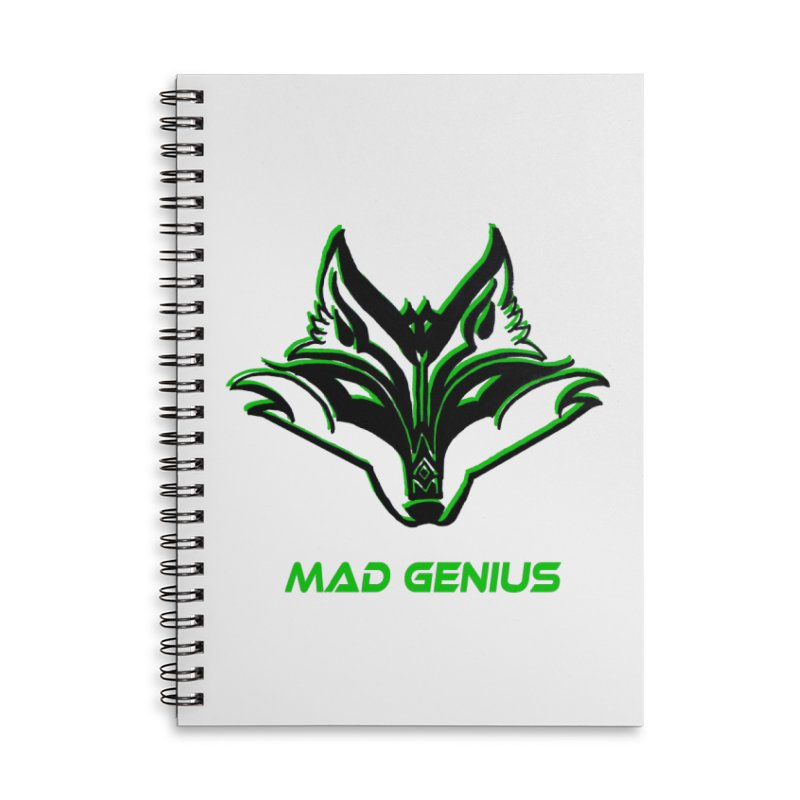 Mad Genius Fox MG Accessories Lined Spiral Notebook by The Mad Genius Artist Shop