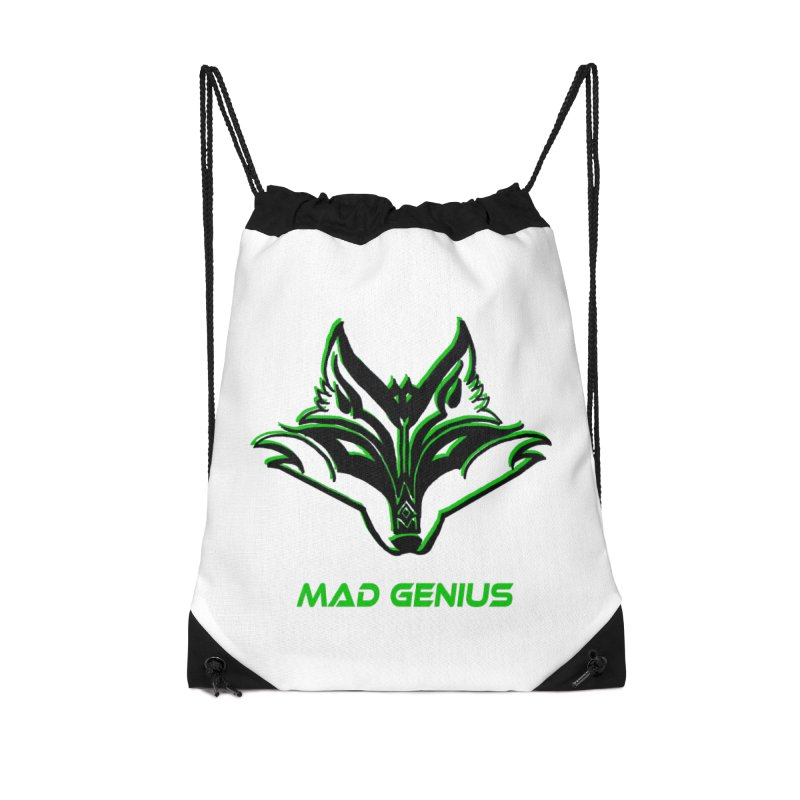 Mad Genius Fox MG Accessories Drawstring Bag Bag by The Mad Genius Artist Shop