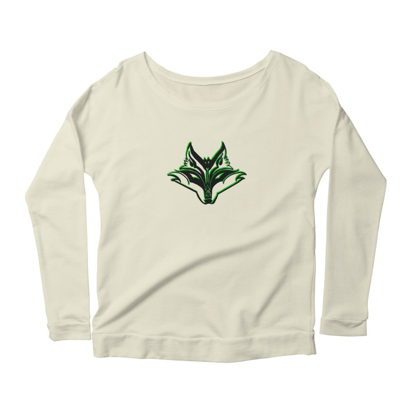 Mad Genius Fox Women's Longsleeve Scoopneck  by The Mad Genius Artist Shop