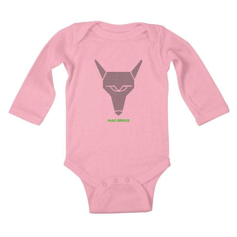 Mad Genius Black Hat Fox MG Kids Baby Longsleeve Bodysuit by The Mad Genius Artist Shop