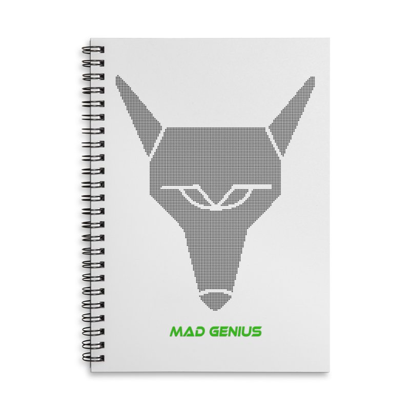 Mad Genius Black Hat Fox MG Accessories Lined Spiral Notebook by The Mad Genius Artist Shop
