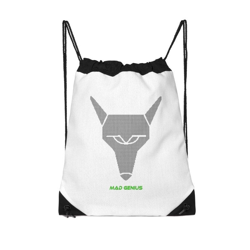Mad Genius Black Hat Fox MG Accessories Drawstring Bag Bag by The Mad Genius Artist Shop