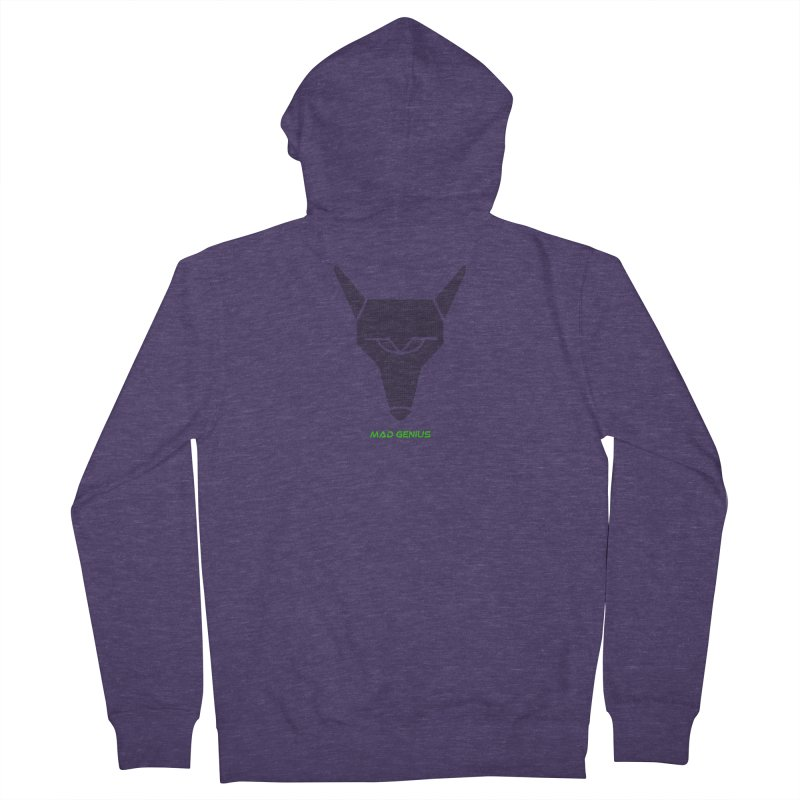Mad Genius Black Hat Fox MG Men's French Terry Zip-Up Hoody by The Mad Genius Artist Shop